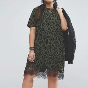 Green Leopard and Lace TShirt Dress Asos Curve
